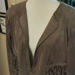 Super soft faux suede cropped fringed jacket PXL